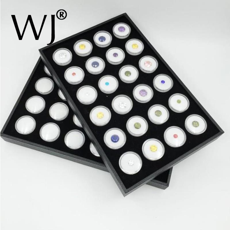 24 blanc Gem Jar mousse Insert plateau bijoux affichage organisateur pierres précieuses mallette de rangement lâche diamant bijoux Show titulaire conteneur