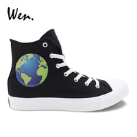 Wen Original Design Earth Casual Shoes Men Black High Top Lace Up Canvas Sneakers Women Flat