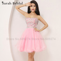 Short Homecoming Dresses For Girls Pink Tulle Prom Party Dress With Luxury Beading Crystals Sweetheart 2015