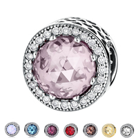 Authentic Sterling Silver 925 Radiant Hearts Blush Pink Crystal Clear CZ Charm Fit Original Pandora Bracelet
