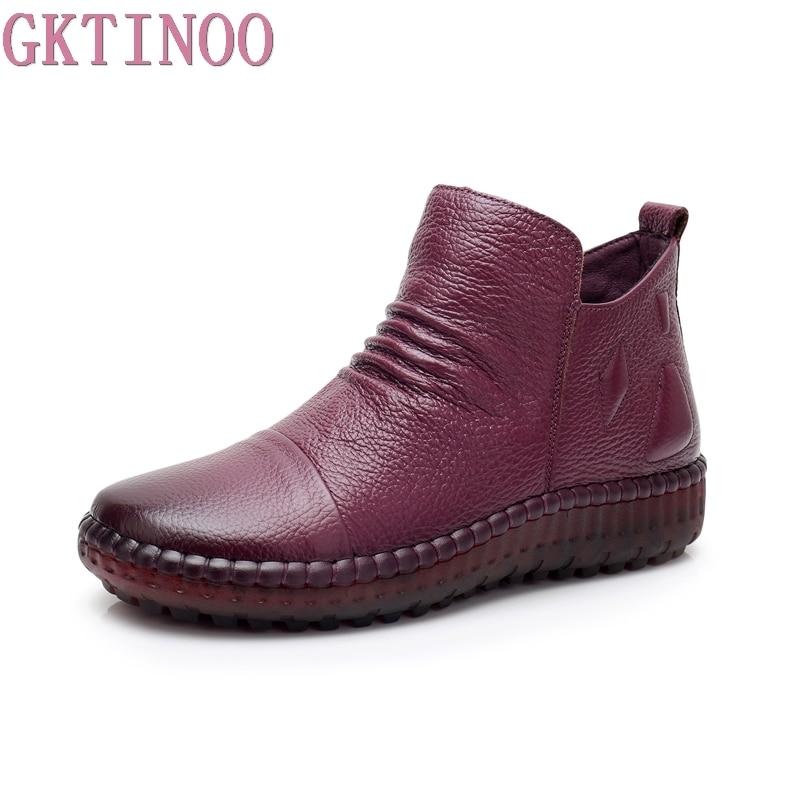 GKTINOO/Модная Осенняя обувь на плоской подошве, ботильоны из натуральной кожи, винтажная повседневная обувь, фирменный дизайн, женские ботинк...