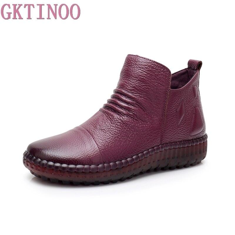 GKTINOO Модные осенние сапоги на плоской подошве ботильоны из натуральной кожи Повседневная Винтажная обувь бренд Дизайн ручной работы в стил...