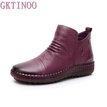 GKTINOO Fashion Autumn Shoe Flat Boots Genuine Leather Ankle Shoes Vintage Casual Shoes Brand Design Retro Handmade Women Boot