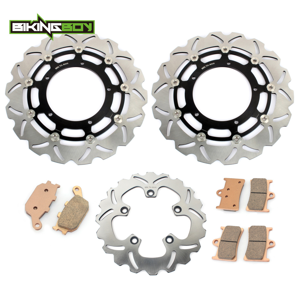BIKINGBOY Full Set Front Rear Motorcycle Brake Disk Disc Rotor Pad for YAMAHA FZ1 FAZER FZ1000 FZ 1000 06-14 13 12 11 10 09 2008 motorcycle front and rear brake pads for yamaha xvs 1300 ctw ctx v star 1300 tourer 2007 2010 black brake disc pad