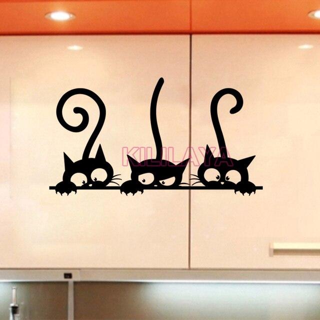 Stickers Three Kittens Cats Vinyl Wall Sticker Mural Fridge Wall Decals Art  Wallpaper For Kids Baby