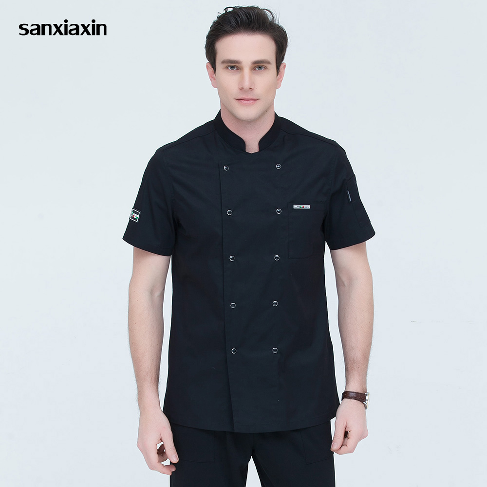 Restaurant Uniforms Shirts 4-colors Short Sleeved Double-breasted Catering Workwear Hotel Kitchen Chef Jackets Work Clothes Men