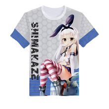 Kantai Collection Cosplay Shimakaze Casual Full Color Wear Tshirt T-Shirt Sports Costume Tee Top Cotton