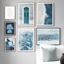 Snow Mountain Beach Sea Cedar Door Nordic Posters And Prints Wall Art Canvas Painting Pictures For Living Room Home Decor