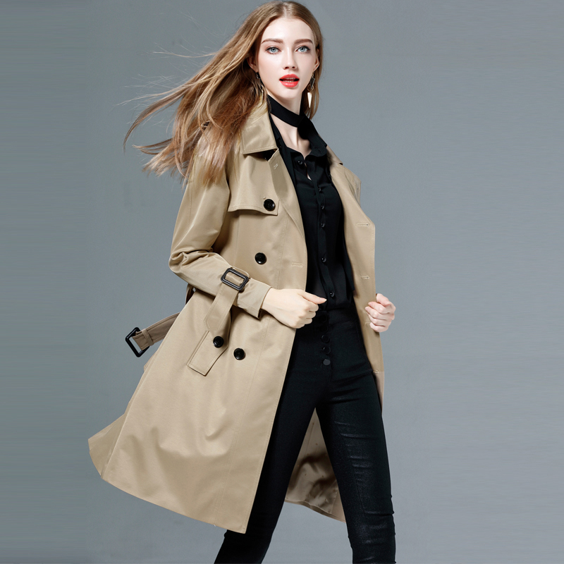 Spring Autumn Women Clothing Windbreaker New Double-breasted Long Ladies   Trench   Coat Matching Belt Plus Size RE2492