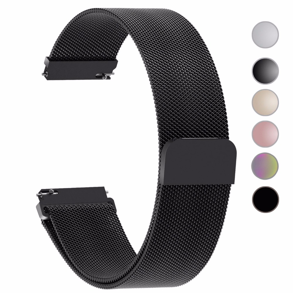 S3 Frontier / Classic  22mm/ 20mm Stainless Steel Watch Band Milanese Loop Watch Strap Quick Release Pins for Samsung Gear S3 S2 brown black genuine leather band for samsung gear s3 frontier strap for samsung gear s3 classic smart watch band w release pins