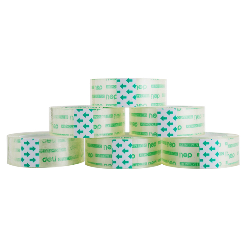 1 Pcs Deli 18mm X 18y Transparent Scotch Office Adhesive Tape Supplies Stationary 1 pcs deli 2 4cm 10y super slim strong adhesion white double sided tape doubles faced adhesive for office supplies