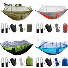 Outdoor Parachute Cloth Hammock With Mosquito Net Ultra Light Nylon Double Army Green Camping Aerial Tent Creative