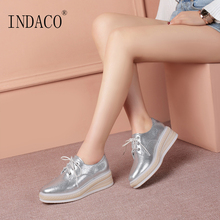 2019 Spring Silver Sneakers Women Leather Casual Shoes Platform Fashion 5cm