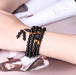 Image 4 - Czarny 108 różaniec tygrysie oko kamień bransoletka naszyjnik kryształ Strand Mala różaniec buddyjski budda kochanek szczęście biżuteria amulet