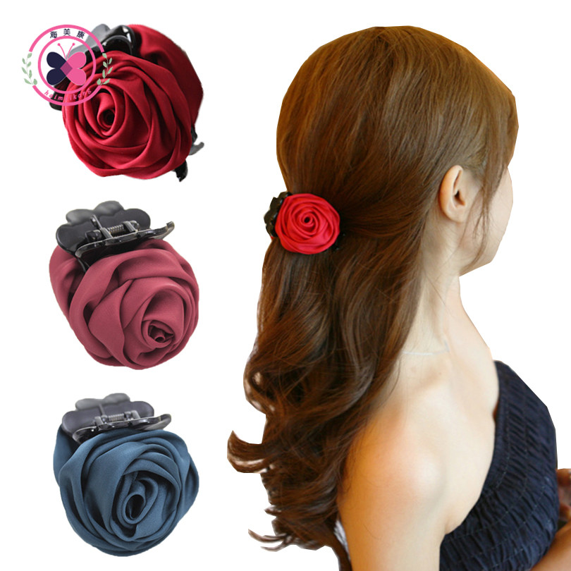 1PC Rose Flowers Black Plastic Teeth Hair Claw Clips Exquisite Elegant Hairpin Headwear For Women Girls Hair Accessories