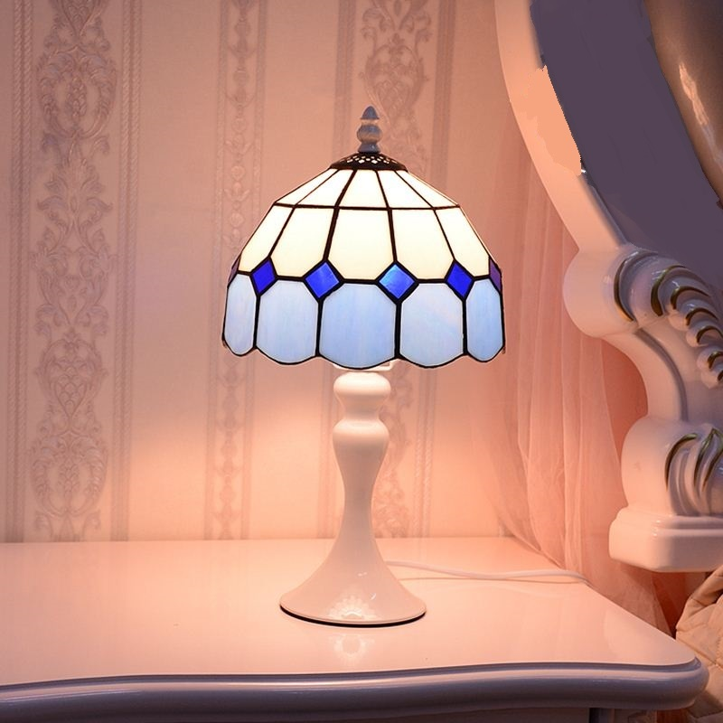 Tiffany Mediterranean table lights minimalist bedroom bedside small table lamp warm light decoration feeding fashion warm DF31