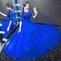 Robe De Soiree Ruiva Lace Frisada Meia Manga Azul Royal Vestidos de Noite Longo de Prata do baile de Finalistas Formal Do Partido vestido de Noiva FestaCS115