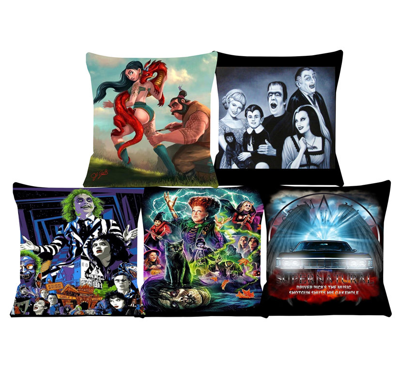 Labryinth Print Cushion Cover Beetlejuice Pillow Cases Decorative Cushions For Sofa Chair Car Pillow Cover  SJ-043