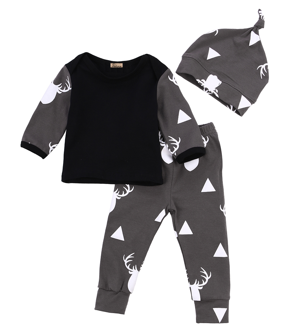 Newborn Infant Baby Girl Boy Deer Cotton Long Sleeve Tops T-shirt+Leggings Pants Outfit Set Clothes infant baby boy girl 2pcs clothes set kids short sleeve you serious clark letters romper tops car print pants 2pcs outfit set