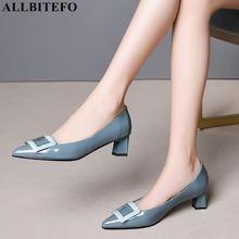 ALLBITEFO chaussures en cuir véritable pour femmes, chaussures à talons hauts, pour le bureau, de haute qualité