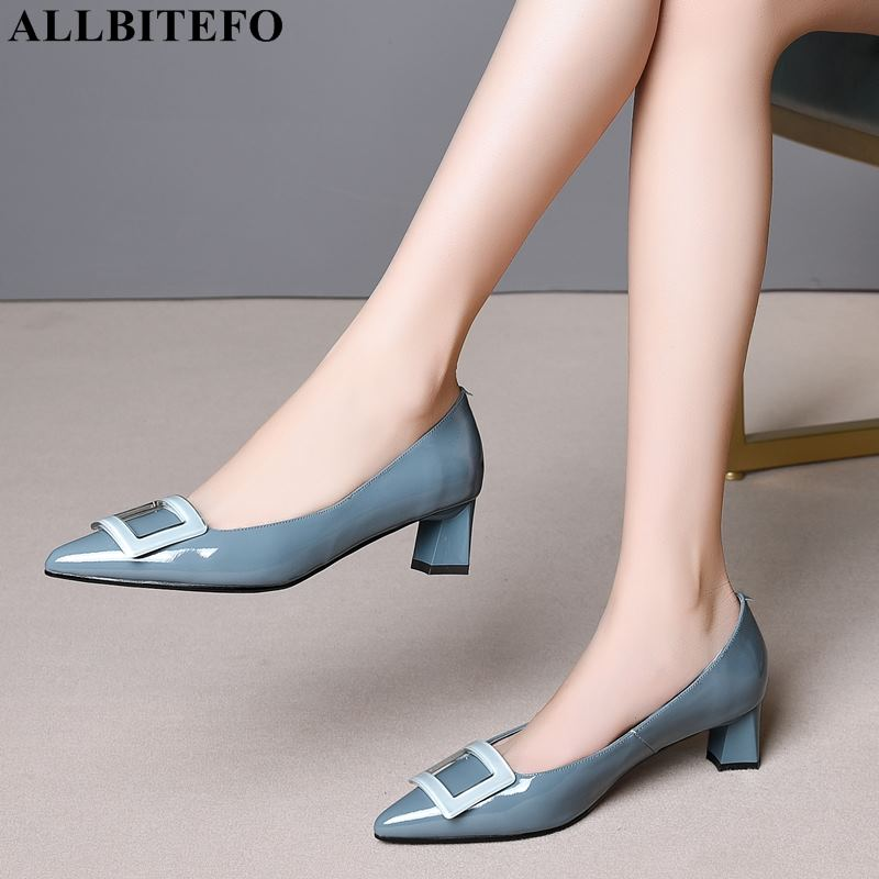 ALLBITEFO pinkycolor genuine leather high heels women shoes high quality women high heel shoes office ladies shoes women heels-in Women's Pumps from Shoes