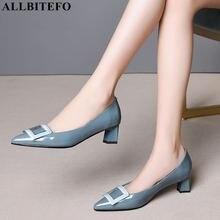 ALLBITEFO pinkycolor 本革ハイヒールの女性の靴高品質の女性のハイヒールの靴オフィスの女性の靴女性のかかと
