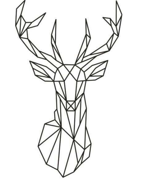 2016 new design geometric deer head wall sticker geometry animal series decals 3d vinyl wall art