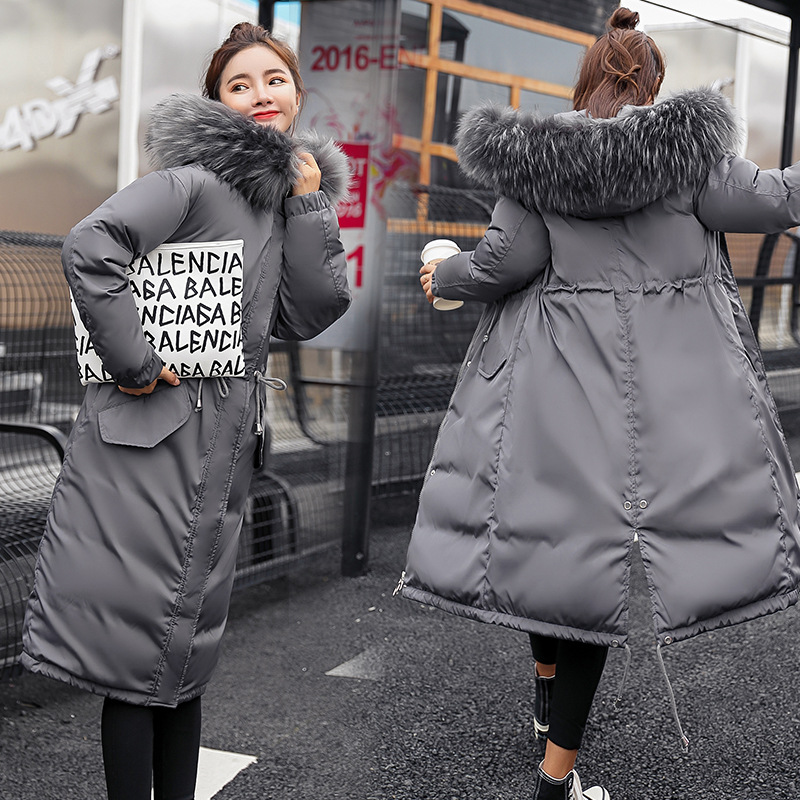 Large Fur Down Jacket Winter Women 2019 New Fashion Loose Hooded Down Cotton Padded Jacket Coat