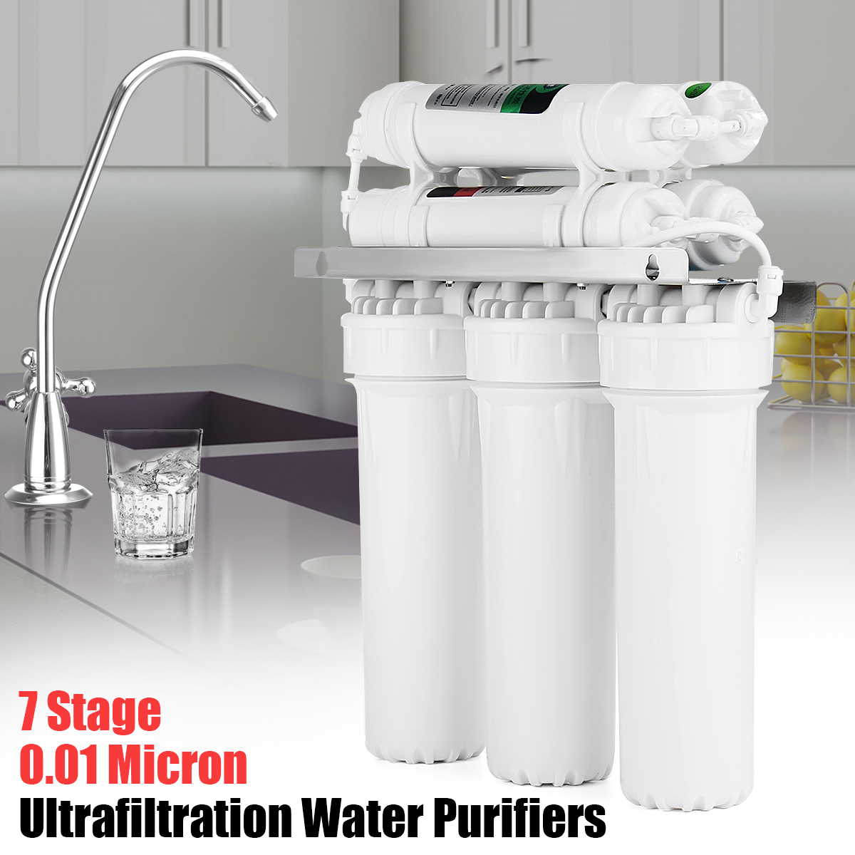 7-Stage Water Filter System With Faucet Valve Water Pipe Drinking Reverse Osmosis System RO Home Kitchen Purifier Water Filters household water filter tap connector adaptor push fit 3 4 inch bsp to 1 4 inch reverse osmosis ro white watering fitting pipe
