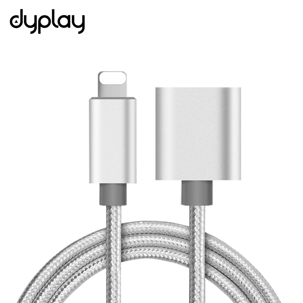 dyplay for Braided Lightning Extension Cable 1m Male to Female for iPhone X 8 7 iPad Audio Adapter Pass Video, Data, Audio 1m 1 8m 3m e sata esata male to male extension data transfer cable cord for portable hard drive 3ft 6ft 10ft