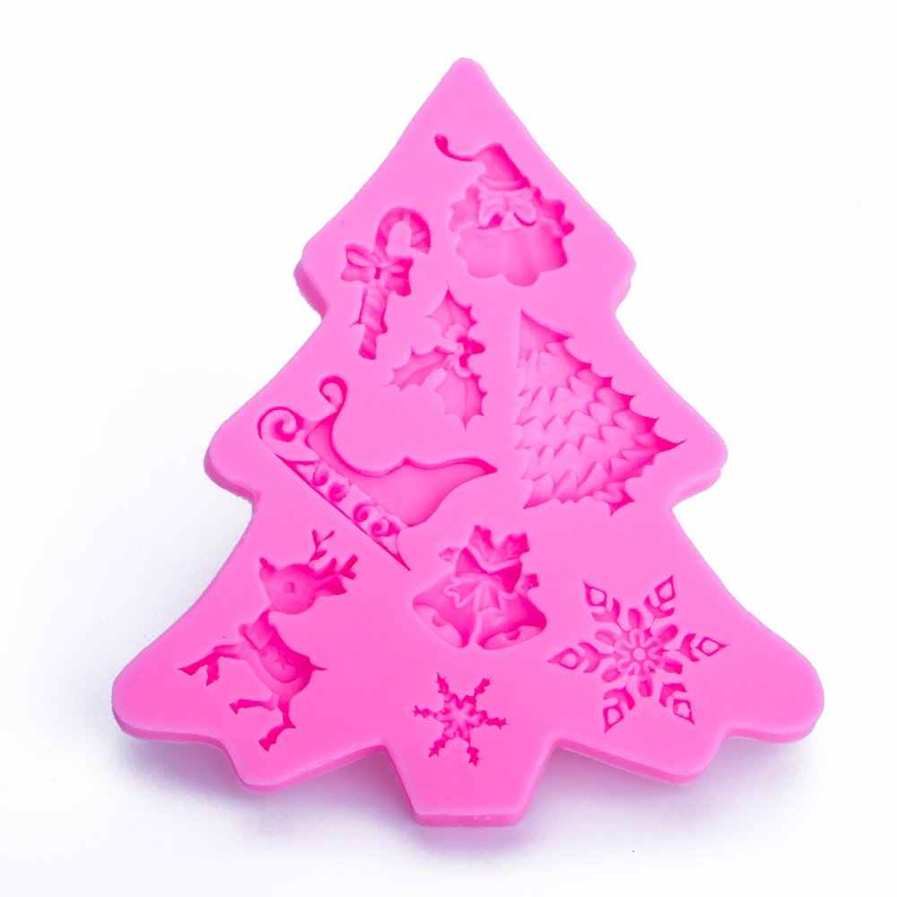 Christmas tree shape 3D Craft Relief Chocolate confectionery Silicone Mold Fondant Cake Kitchen Decorating DIY Tools FT-1101