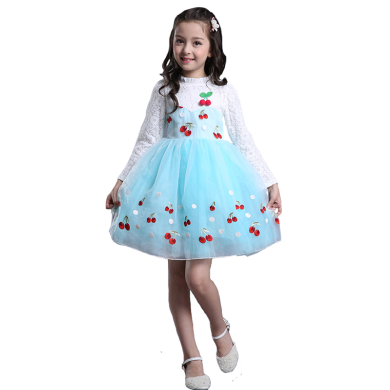 Floral Girls Dress Autumn Children Lace Embroidery Princess Vestido Kids Long Sleeve Cherry Print Performance Clothing girls europe and the united states children s wear red princess long sleeve princess dress child kids clothing red bow lace