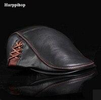 2017 Hot Sell Good Quality Hats Men Genuine Leather Newsboy Hat Cap Gatsby Flat Golf Cabbie
