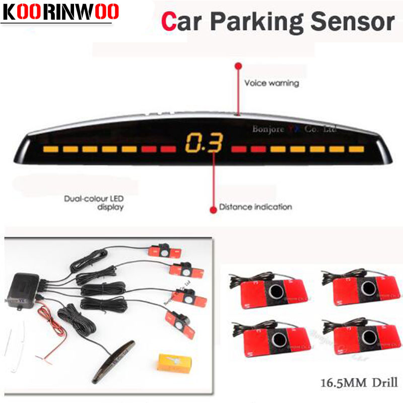 Koorinwoo Car Detector display LED Car Sensor de Estacionamento Multicolorido Set 4 System Sensor Radar Reverso Do Carro Parktronic Vermelho Preto Cinza
