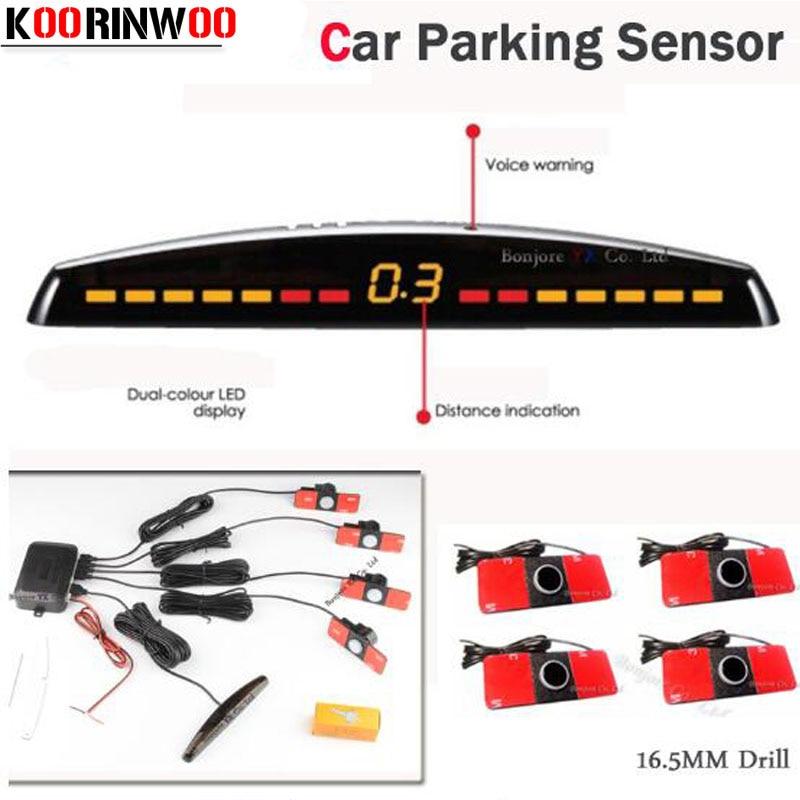 Koorinwoo Car Detector LED Display Car Parking Sensor Multicolor Set 4 System Sensor Car Reverse Radar Parktronic Red Black Grey