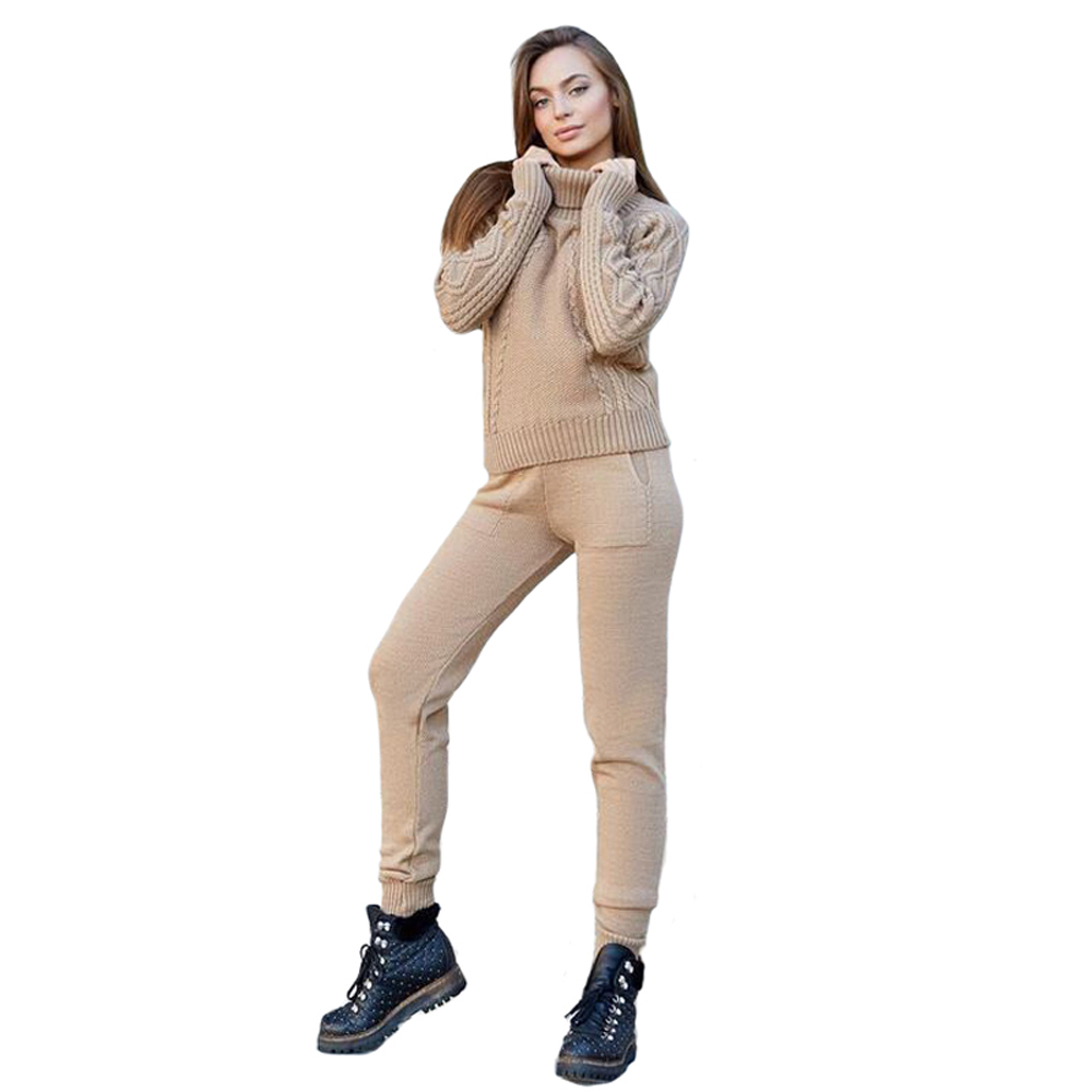 2018 Winter Knit Suit Women New Warm Knitted Tracksuit Turtleneck Sweater + Knit Pants Khaki Gray Set Female 2pcs Two Piece Sets