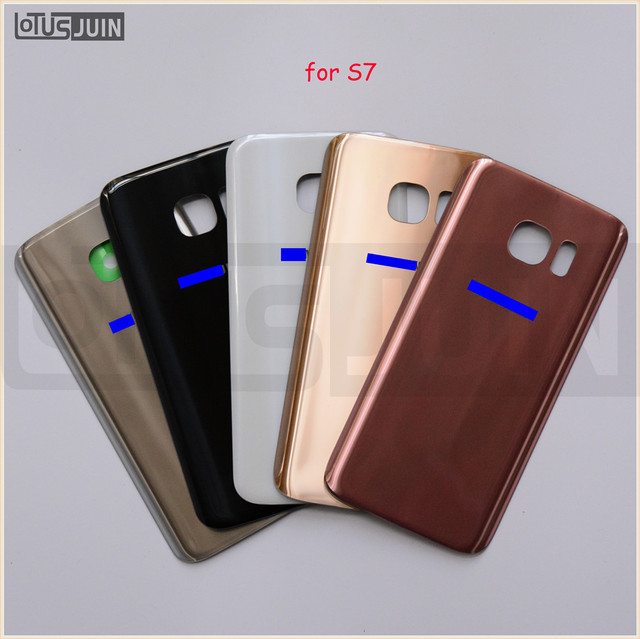 1PCS Original Back Door Housing Rear Glass Battery Cover For Samsung Galaxy S7 G930 With Logo + Adhesive