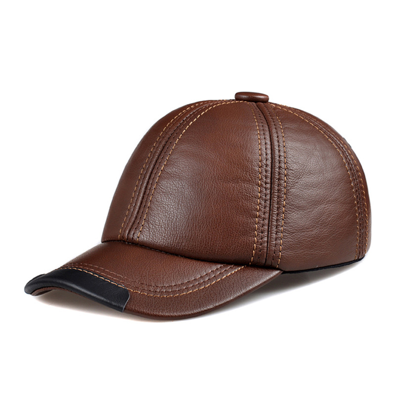 New winter fashion leather hat Mens Leather Baseball Cap Hat Haining peaked cap