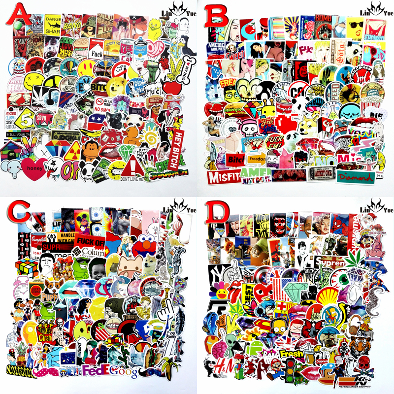 100pcs x6 not repeating waterproof stickers for Home decor Travel Suitcase Wall Bike fridge Sliding Plate Car Styling sticker