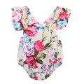 0-18 M Bebê Bodysuit Elegante Flor Impresso Boho Corpo Do Bebê Recém-nascido Meninas Fofo Manga Cruzar de Volta Menina roupas Outfits