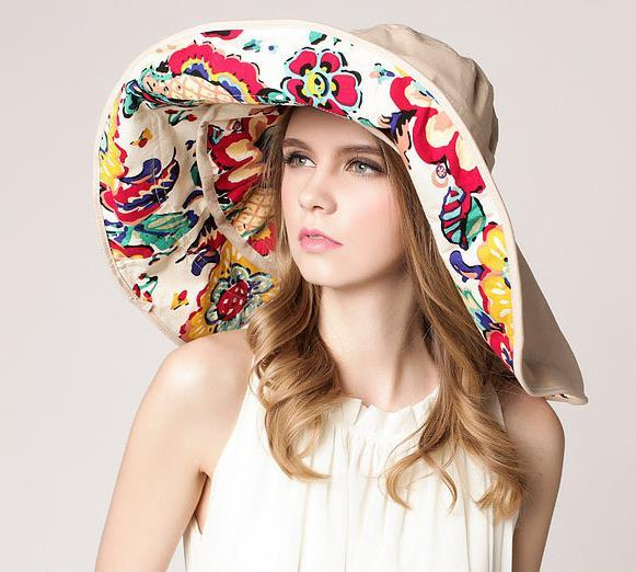 2018 Fashion Design Flower Foldable Brimmed Sun Hat Summer Hats for Women UV Protection large