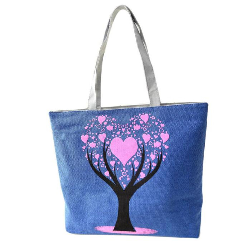 Casual Heart Tree Printed Canvas Shoulder Bag Women Large Tote Handbag Beach Shopping Bags Bolsa Feminina Bolsos Wholesale noJE6 floral printed canvas tote female single shopping bags large capacity women canvas beach bags casual tote feminina