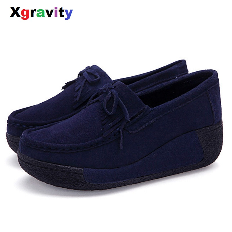 XGRAVITY Tassel Round Toe Lady Platform High Heel Fashion Woman Shoes Elegant Lady Casual Shoes Leisure