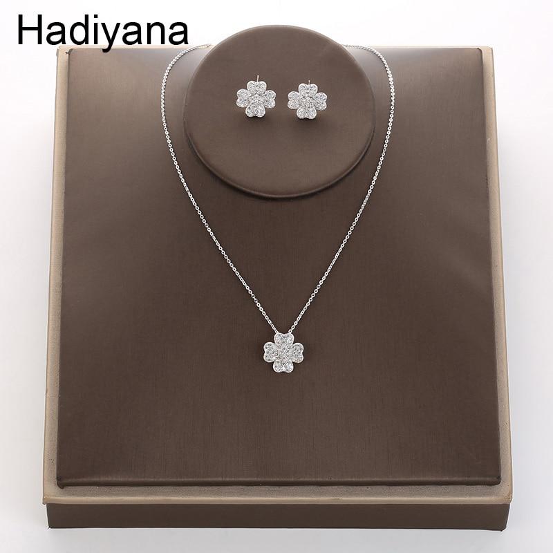 94a060737bdc Hadiyana alta calidad Micro con incrustaciones de Zircon AAA de collar de  pendientes de moda brillante fiesta de flores colgante de joyería de  pendientes ...