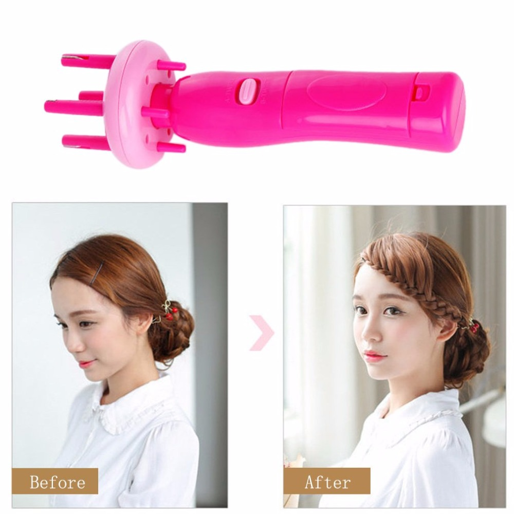 Hair Styling Tools Hair Braider Automatically Braid Machine Electric Hemp Flowers Hair Braide Hair Braider Device Kit braid clip sponge hair braider twisting maker pink