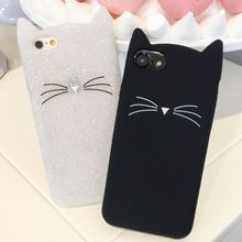 Innovation Cute 3D Glitter Bearded Cat Case For iPhone 6 Plus Cartoon Soft Silicon Coque Back Cover iphone 6s Capa
