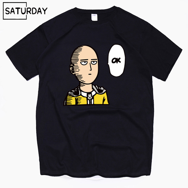 Men's Anime One Punch Harajuku Funny Cotton   T     Shirts   2019 Summer Cotton Workout Tshirts Anime Tops Boyfriend Gift Dropshipping