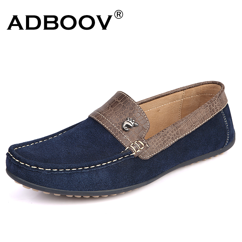 ADBOOV New Loafers Men Cow Suede + Crocodile pattern Leather Casual Shoes Flats Slip On Driving Shoes Round Toe Moccasins fashion crocodile man casual shoes genuine leather cow comfortable loafers round toe designer brand men s business flats fd94