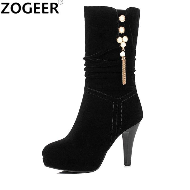 De Rebaño Cristal 2018 Calidad Caliente Otoño Alto calf Damas Botas Moda Tacón Invierno Mujer Zapatos Negro Lujo Mid Superior Iq6Bq