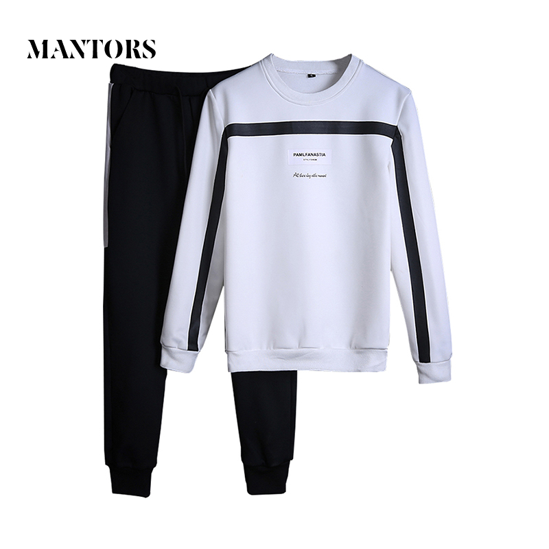 Men Tracksuit Set Autumn Sportswear Fashion Mens Set 2pc Sweatshirt+sweatpants Casual Solid Pullover Sporting Suit Clothing